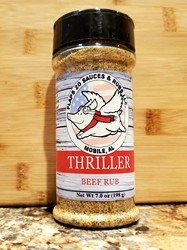 Thriller Beef Rub  Sauce, BBQ, BBQ Sauce, Texas BBQ, South Carolina BBQ, Memphis BBQ, Texas Pepper, South Carolina Mustard, Mustard Sauce, Sweet BBQ, Sweet Heat, Sweet, Award Winning, Food, Barbecue, Best BBQ, Award Winning BBQ, Competition, Competition BBQ, Pitmaster, Pork, Beef, Butt, Ribs, Steak, Wings, Hot Wings, BBQ Wings, Chicken, Grill Sauce, Award Winning Sauce